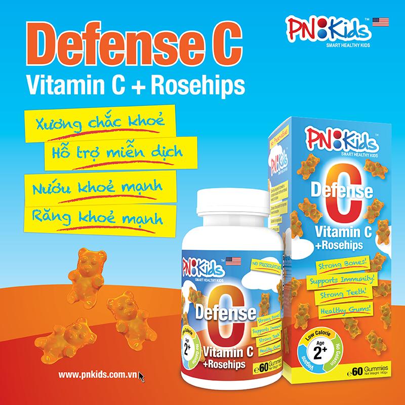 VIÊN NHAI DẺO BỔ SUNG DEFENSE C-VITAMIN C+ROSEHIPS