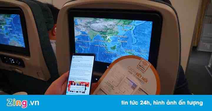Wi-Fi trên máy bay Vietnam Airlines chậm, đủ để nhắn tin và gửi mail