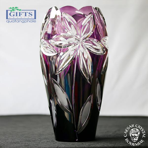 bình hoa pha lê nhập khẩu, bình hoa trang trí cao cấp, bình hoa pha lê màu