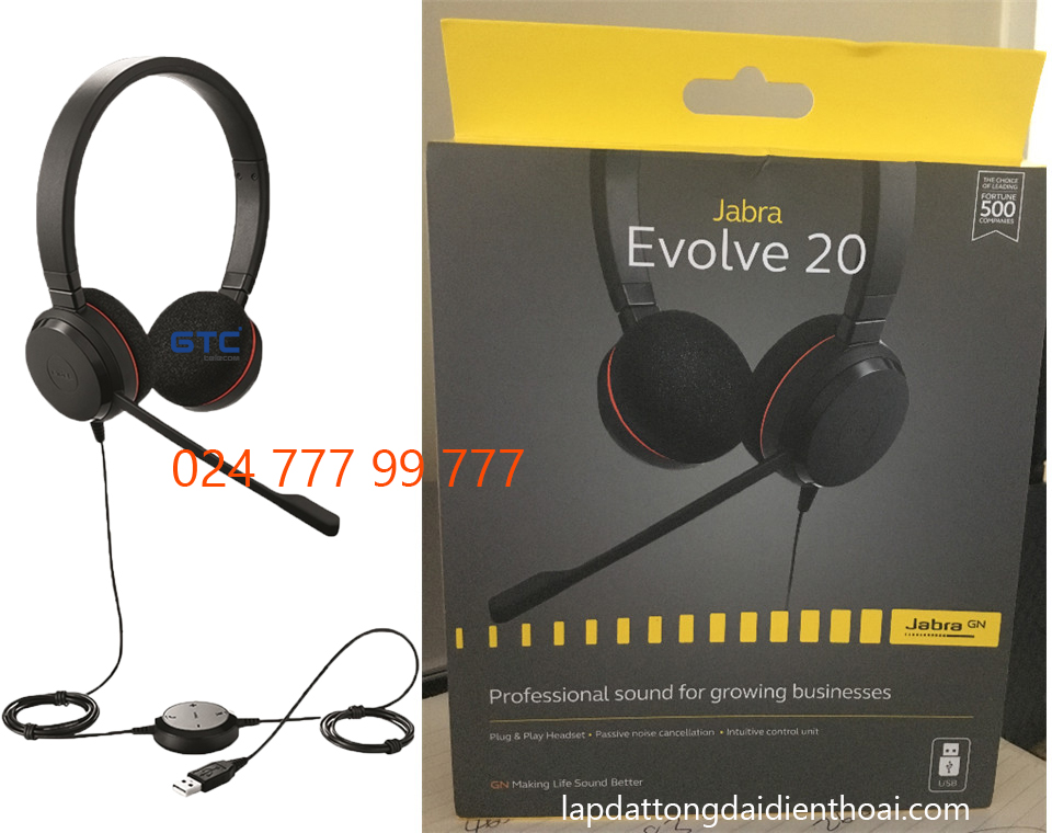 Jabra Evolve 20 Ms Stereo USB - Tai nghe callcenter Jabra Evolve 20