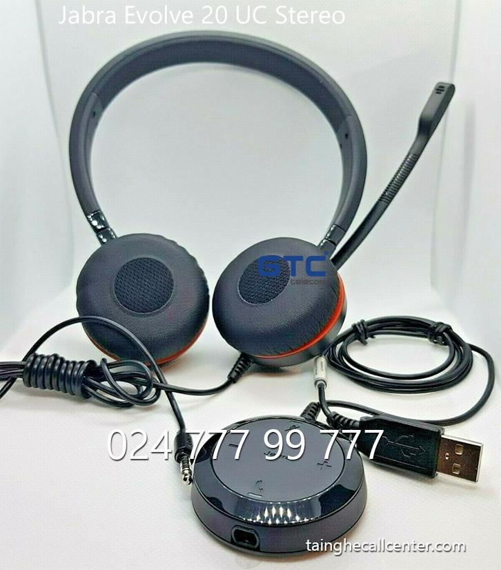 Jabra Evolve 20 UC Stereo - Tai nghe USB Evolve 20 UC Stereo thoại hay