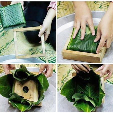 Gói khuôn nhỏ để tạo hình bánh chưng