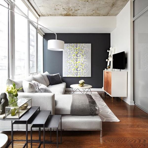 Phòng khách hiện đại với nội thất tối giản