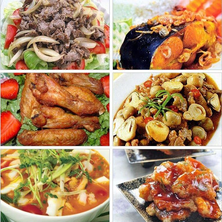 hực đơn món ăn đa dạng, phong phú