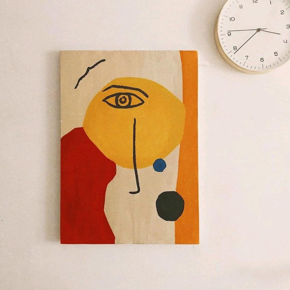 Tranh mắt, 50x70cm Chất liệu vải canvas, vẽ thủ công, màu acrylics