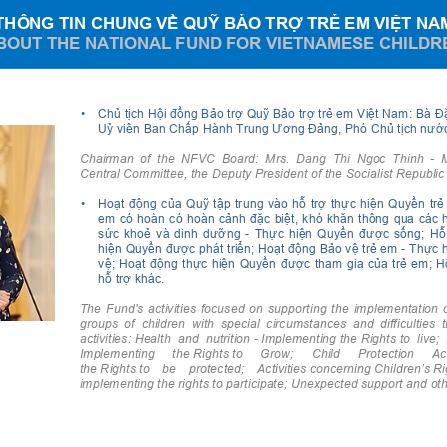 Thông tin chung về quỹ bảo trợ trẻ em Việt Nam