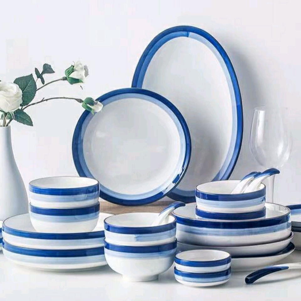 Set chén dĩa trắng viền xanh