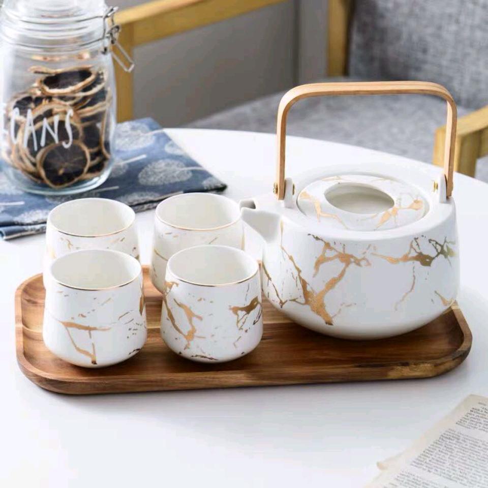 Bộ ấm trà cẩm thạch dát vàng Luxury