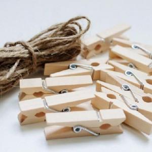 Combo 10 Kẹp gỗ treo ảnh mini + 5m dây thừng