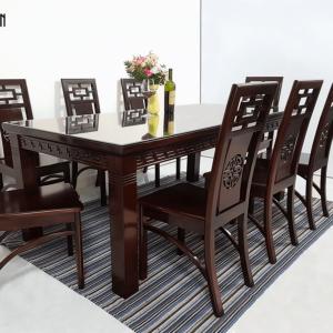 Bàn ăn gỗ Muồng mặt gỗ dày 1mx2m 8 ghế